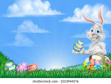 An Easter bunny rabbit with basket of Easter eggs on an egg hunt pointing with space for a message