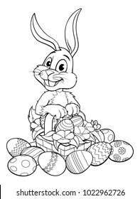 An Easter bunny rabbit with a basket of Easter eggs on a hunt