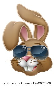 Easter bunny rabbit cartoon character in cool sunglasses or shades
