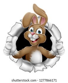 Easter bunny rabbit cartoon character breaking through the background and giving a thumbs up