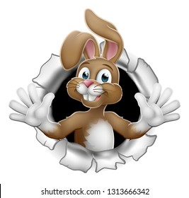 Easter bunny rabbit cartoon character breaking through the background