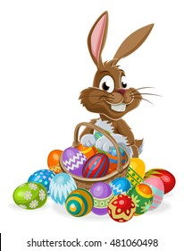 Easter bunny rabbit cartoon character holding an Easter Eggs basket full of eggs, could be on a chocolate Easter Egg Hunt