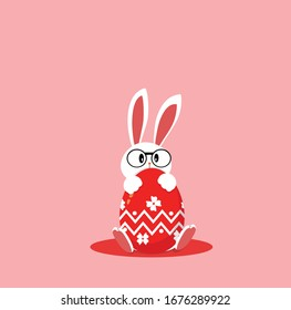 Easter bunny. Rabbit and egg. Happy Easter. Cute easter bunny character hug egg. Vector