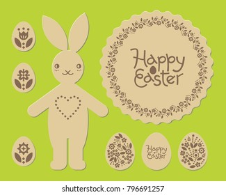Easter Bunny Rabbit Happy Laser Cut Pattern Cutting Engraving Template For Plywood