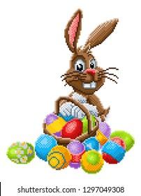 An Easter bunny rabbit pixel art 8 bit video game arcade cartoon character