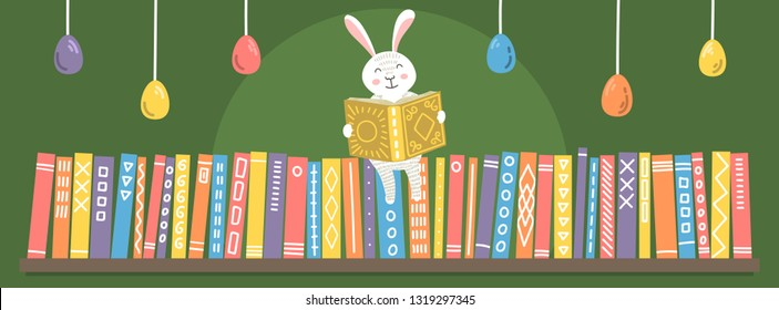 Easter bunny reading book on bookshelf. Cute greeting illustration for children libraries, bookstores, schools etc
