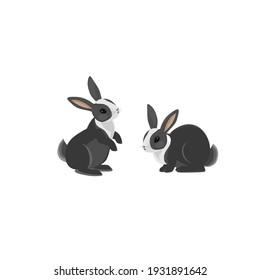 Easter bunny set. Vector rabbits set. Cartoon rabbits. Rabbits standing, sitting, running. Vector EPS