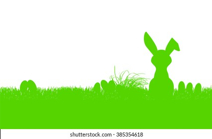 easter bunny silhouette and eggs, banner,  free copy space