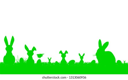 easter bunny silhouettes and easter eggs, banner and neat design element,free copy space, vector