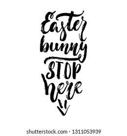 Easter bunny stop here - spring holidays hand drawn lettering calligraphy phrase isolated on white background. Fun brush ink vector illustration for banners, greeting card, poster, photo overlays