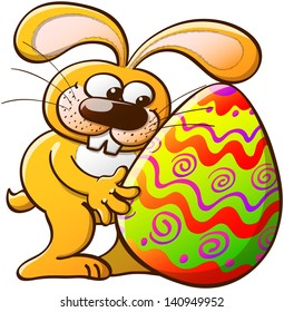 Easter Bunny tenderly looking at his big and beautiful Easter egg