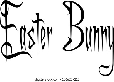 Easter Bunny text sign illustration on white background