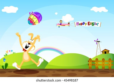 An easter bunny throwing easter eggs around on a happy farm.
