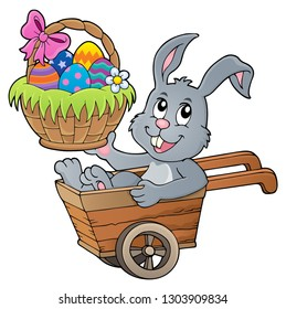 Easter bunny in wheelbarrow image 2 - eps10 vector illustration.