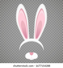 Easter bunny white ears isolated on transparent background. Cartoon cute rabbit Headband for poster, banner or invitation cards. Vector illustration