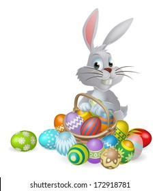 An Easter bunny white rabbit with a basket of painted chocolate Easter eggs