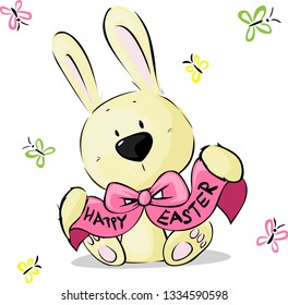 Easter Bunny Wish Happy Easter with Butterfly - Vector Illustration