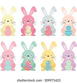 Easter bunny,Easter eggs set
