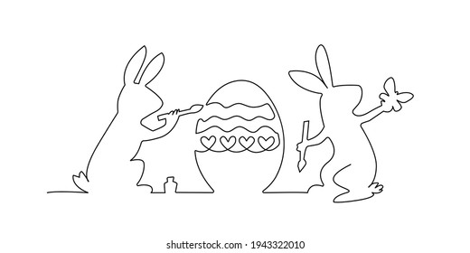 Easter bunny,egg and butterfly silhouette. Continuous black outline of two rabbit painting easter egg. Vector minimalistic line art illustration isolated on white background
