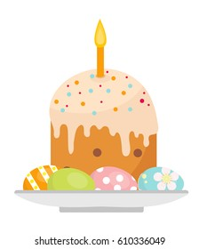 Easter cake with candles on a plate with eggs icon, flat style. Isolated on white background. Vector illustration, clip-art