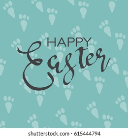 Easter calligraphy greeting card with rabbit footprint background. vector illustration
