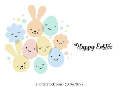 Easter card, banner and background design with eggs, bunnies and flowers