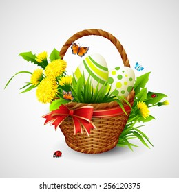 Easter card with basket, eggs and flowers. Vector illustration EPS10