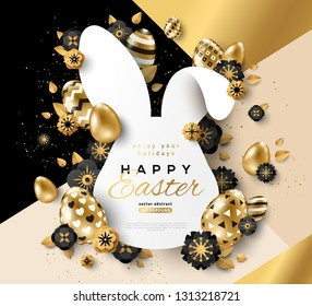 Easter card with bunny rabbit shape frame, spring flowers and gold eggs on modern geometric background. Vector illustration. Place for your text.