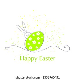Easter card with colorful Easter egg and bunny