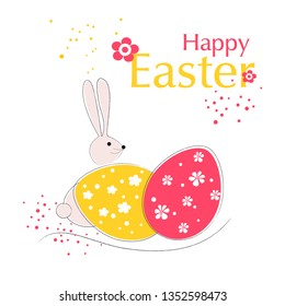 Easter card with colorful Easter egg and rabbit