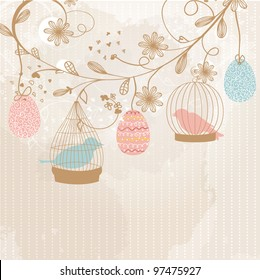 Easter card with cute birds in the cages and patterned easter eggs