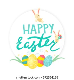 Easter card with cute bunnies, easter eggs and inscription Happy Easter