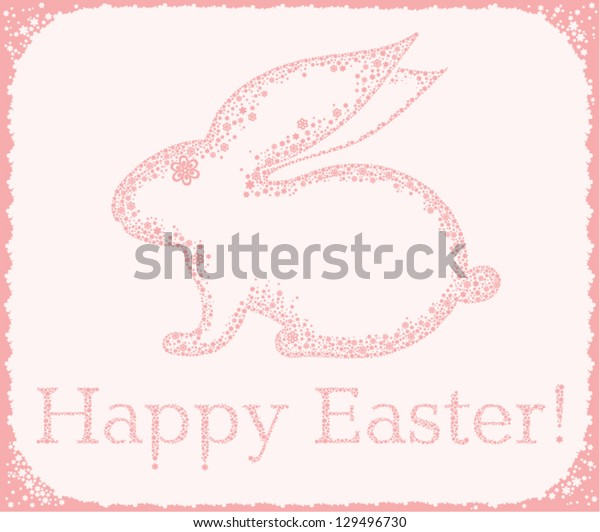 Easter card with a cute Bunny. Happy Easter!