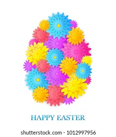 Easter card with egg made from flowers.Vector illustration.