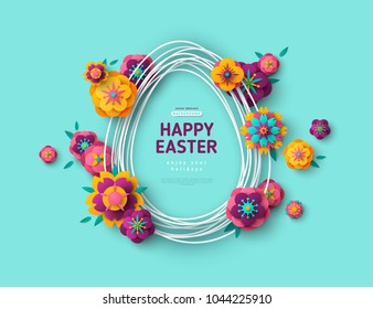 Easter card with egg shape frame and paper cut flowers on blue background. Vector illustration. Place for your text.