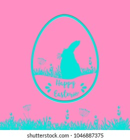 Easter card with egg,flowers and rabbit in punchy pastels, pink and blue card