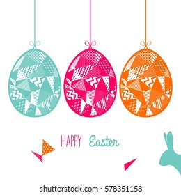 Easter card with easter eggs and easter bunny. Vector illustration.