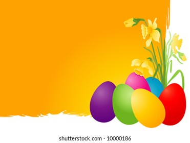 Easter card with eggs and narcissus.