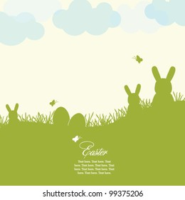 Easter card with eggs and rabbits