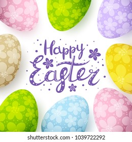 Easter card with floral decorated eggs
