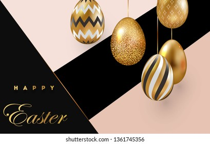 Easter card with gold ornate eggs on a dark light background. Vector illustration Place for your text. Golden eggs with small floral and geometric patterns