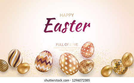 Easter card with gold ornate golden eggs on a light background. Vector illustration Place for your text. Golden eggs with small floral and geometric patterns