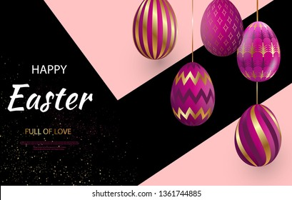 Easter card with gold ornate pink eggs on a dark light background. Vector illustration Place for your text. Golden eggs with small floral and geometric patterns