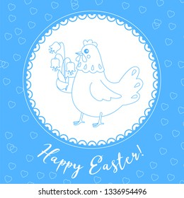 Easter card, happy Easter sticker. Chicken carries flowers. Vector