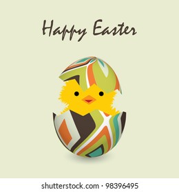 easter card with a hatching chick, vector illustration