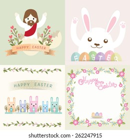 Easter card with Jesus, rabbit and flower vintage set vector.