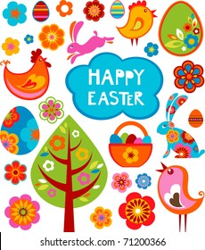 Easter card with many graphical elements