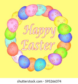 Easter card with painted eggs