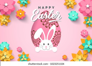 Easter card with paper cut egg shape frame with spring flowers on pink background. Vector illustration Easter bunny.