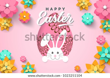 8d7cfceaafe Easter card with paper cut egg shape frame with spring flowers on pink  background. Vector illustration Easter bunny. - Vector